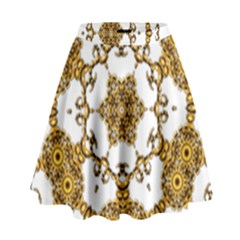 Fractal Tile Construction Design High Waist Skirt