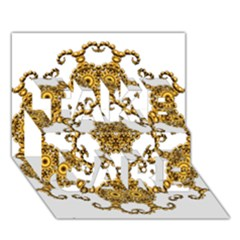 Fractal Tile Construction Design TAKE CARE 3D Greeting Card (7x5)