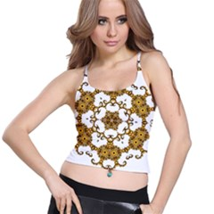 Fractal Tile Construction Design Spaghetti Strap Bra Top