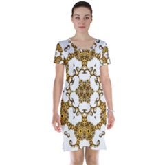 Fractal Tile Construction Design Short Sleeve Nightdress