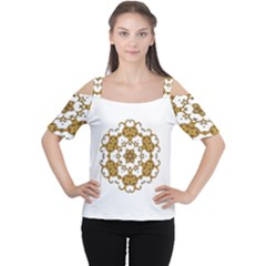 Fractal Tile Construction Design Women s Cutout Shoulder Tee