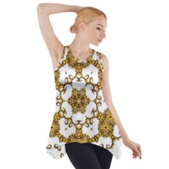 Fractal Tile Construction Design Side Drop Tank Tunic