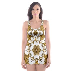 Fractal Tile Construction Design Skater Dress Swimsuit