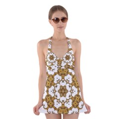 Fractal Tile Construction Design Halter Swimsuit Dress