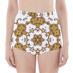Fractal Tile Construction Design High-Waisted Bikini Bottoms