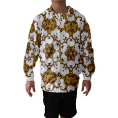 Fractal Tile Construction Design Hooded Wind Breaker (Kids)