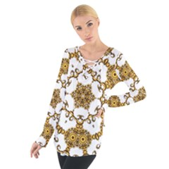 Fractal Tile Construction Design Women s Tie Up Tee