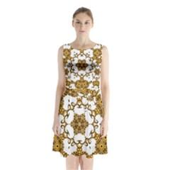 Fractal Tile Construction Design Sleeveless Chiffon Waist Tie Dress