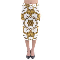 Fractal Tile Construction Design Midi Pencil Skirt