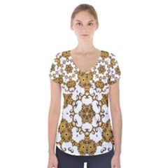 Fractal Tile Construction Design Short Sleeve Front Detail Top