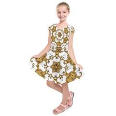 Fractal Tile Construction Design Kids  Short Sleeve Dress