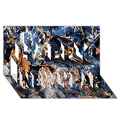 Frost Leaves Winter Park Morning Happy New Year 3D Greeting Card (8x4)