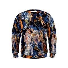 Frost Leaves Winter Park Morning Kids  Sweatshirt