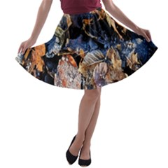 Frost Leaves Winter Park Morning A-line Skater Skirt