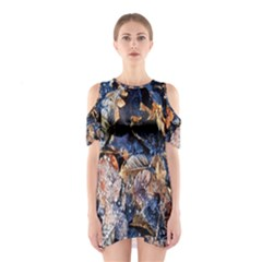 Frost Leaves Winter Park Morning Cutout Shoulder Dress