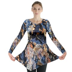 Frost Leaves Winter Park Morning Long Sleeve Tunic