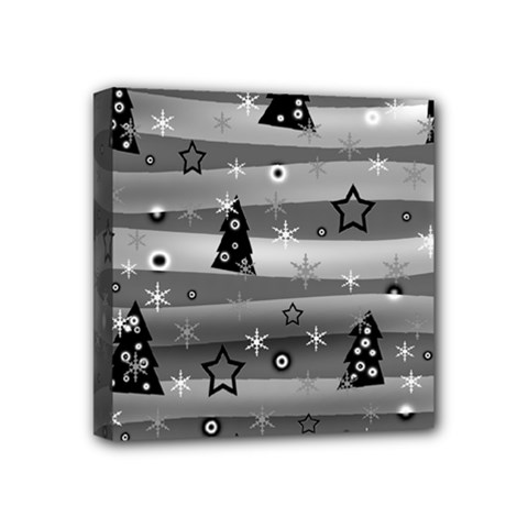 Gray Xmas magic Mini Canvas 4  x 4