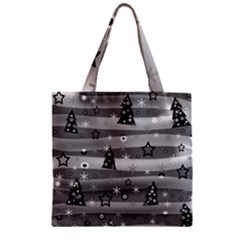 Gray Xmas magic Zipper Grocery Tote Bag