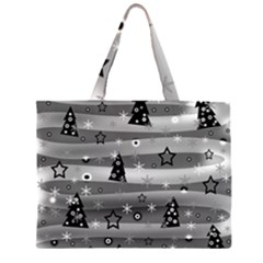 Gray Xmas magic Zipper Large Tote Bag