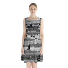 Gray Xmas magic Sleeveless Chiffon Waist Tie Dress