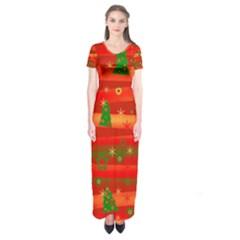 Xmas magic Short Sleeve Maxi Dress
