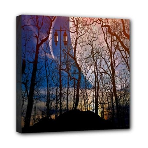 Full Moon Forest Night Darkness Mini Canvas 8  x 8