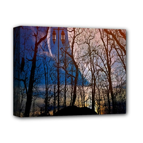 Full Moon Forest Night Darkness Deluxe Canvas 14  x 11