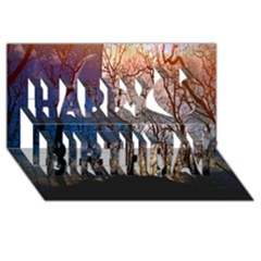 Full Moon Forest Night Darkness Happy Birthday 3D Greeting Card (8x4)
