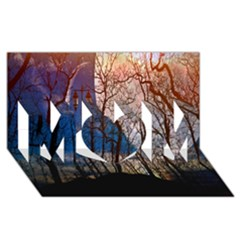 Full Moon Forest Night Darkness MOM 3D Greeting Card (8x4)