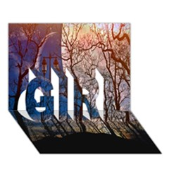 Full Moon Forest Night Darkness GIRL 3D Greeting Card (7x5)