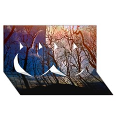 Full Moon Forest Night Darkness Twin Hearts 3D Greeting Card (8x4)