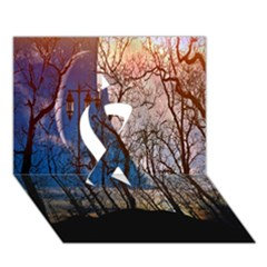 Full Moon Forest Night Darkness Ribbon 3D Greeting Card (7x5)
