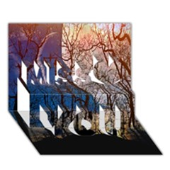 Full Moon Forest Night Darkness Miss You 3D Greeting Card (7x5)