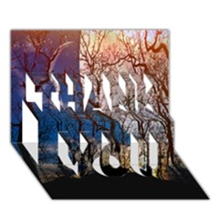 Full Moon Forest Night Darkness THANK YOU 3D Greeting Card (7x5)