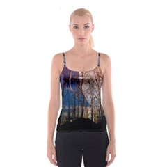Full Moon Forest Night Darkness Spaghetti Strap Top