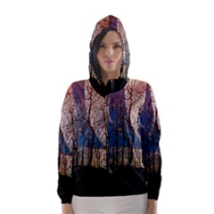 Full Moon Forest Night Darkness Hooded Wind Breaker (Women)
