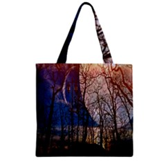 Full Moon Forest Night Darkness Zipper Grocery Tote Bag
