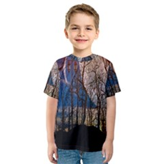 Full Moon Forest Night Darkness Kids  Sport Mesh Tee