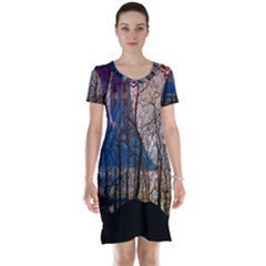 Full Moon Forest Night Darkness Short Sleeve Nightdress