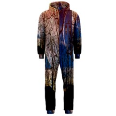 Full Moon Forest Night Darkness Hooded Jumpsuit (Men)