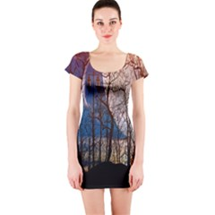 Full Moon Forest Night Darkness Short Sleeve Bodycon Dress