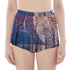 Full Moon Forest Night Darkness High-Waisted Bikini Bottoms