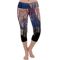 Full Moon Forest Night Darkness Capri Yoga Leggings