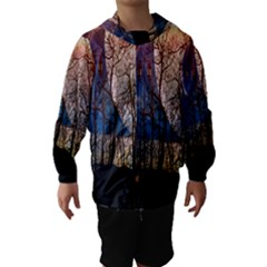 Full Moon Forest Night Darkness Hooded Wind Breaker (Kids)