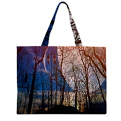 Full Moon Forest Night Darkness Large Tote Bag