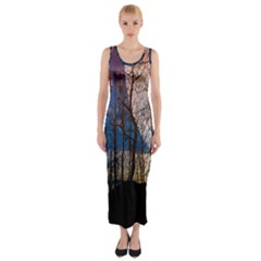 Full Moon Forest Night Darkness Fitted Maxi Dress