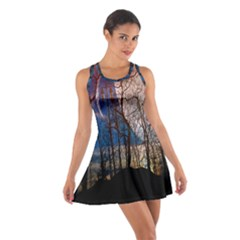 Full Moon Forest Night Darkness Cotton Racerback Dress