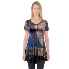 Full Moon Forest Night Darkness Short Sleeve Tunic