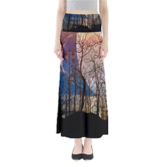 Full Moon Forest Night Darkness Maxi Skirts