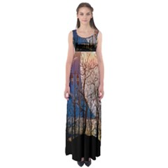Full Moon Forest Night Darkness Empire Waist Maxi Dress